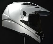 Vega Crosstour Dual Sport Helmet Silver Adult Sizes w/ Drop Down Visor