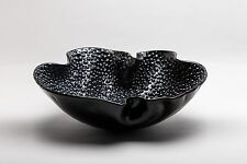HOME DECOR - MURANO GLASS BLACK BUBBLE DECORATIVE PLATE - ITALIAN ART GLASS