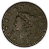 1829 1c Coronet Head Large Cent - Better Date - Mid-Grade Details - SKU-Y2404
