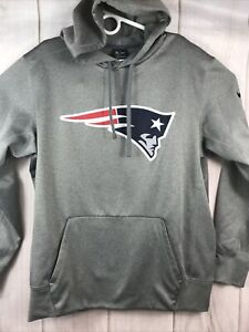 Nike Men's New England Patriots Logo Club Grey Hoodie Sweatshirt Size Large