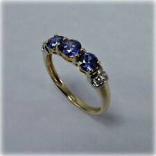Unusual Blue & White Cubic Zirconia 14ct Gold Ring