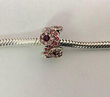 Chamilia Jewelry Charm Daisy Bouquet Pink Purple Swarovski Sterling Silver Bead