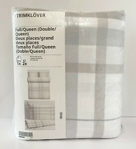 Ikea STRIMKLOVER Full/Queen Duvet Cover Set Flannel Plaid Gray/Beige Check NEW