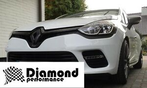 Gloss Black FRONT&REAR badge COVER for Renault Clio 4 2013-16 inc GT 200,220,EDC