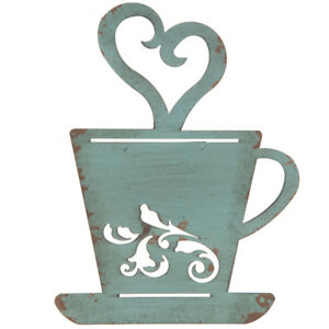 Turquoise Rusty Metal Coffee Cup Wall, Kitchen, Restaurant, Coffee Shop Decor