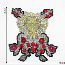 Large lace Floral Heart Flower Garden Design Embroidered Iron On Applique Patch