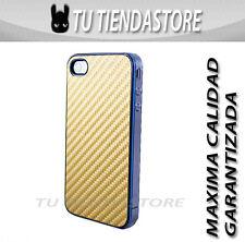 Carcasa funda estuche compatible iPhone 4 FIBRA DE CARBONO DORADA