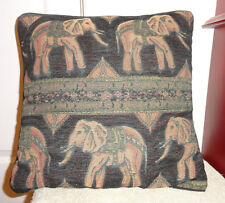 Elephant Saddle Square Tapestry Throw Pillow Brown Black Green Cushion Décor
