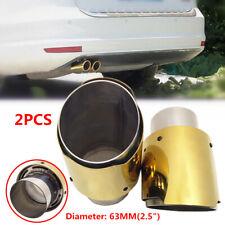 "2PCS 2.5"" Car SUV Golden Welding Modified Tail Throat Exhaust Pipe Muffler Tips"