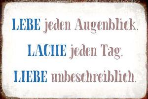 Lebe .. Lache .. Liebe .. Blechschild Schild gewölbt Tin Sign 20 x 30 cm R1026