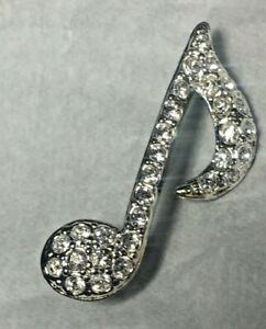 Clear Stone Silvertone Music Eighth Note Brooch Pin Women Ladies Jewelry  NEW