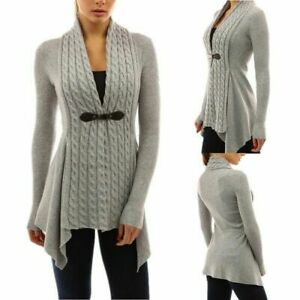Women's Knitted Waterfall Cardigans Full Sleeves Tops Ladies Sweaters Plus Size