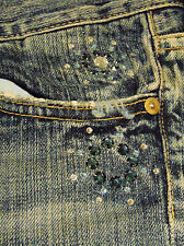 7 For All Mankind The Great China Wall Boot Cut Jeans Rhinestones Pockets Sz 31
