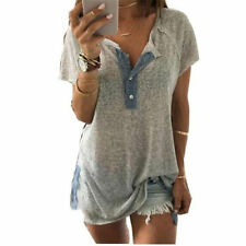 Fashion-Womens-Summer-Loose-Button-Plus-Blouse-Short-Sleeve-T-Shirt-Tank-Tops