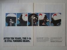 1-3/1989 PUB GENERAL DYNAMICS USAF F-16 FIGHTING FALCON PILOT HELMET AGRESSOR AD