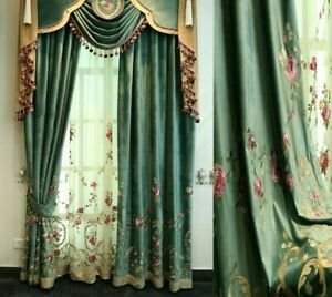 Velvet Embroidered Window Curtain Floral European Style Drapes Voile Tulle Decor
