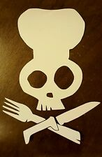Custom Vinyl Decal Chef Skull Crossbones Sticker Heat Transfer Personalized