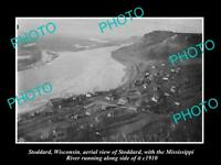 OLD LARGE HISTORIC PHOTO OF STODDARD WISCONSIN, AERIAL VIEW OF THE TOWN c1910