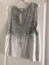 Ladies NEW T-Shirt Rock style Top Grey Sleeveless Size 16 Miss Selfridge