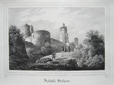 Schloß Stolpen  Sachsen alte Lithographie aus Saxonia 1835-1841