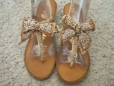 "$72 NEW NAUGHTY MONKEY RHINESTONE BEADED BOW BROWN WEDGE LEATHER SANDALS 2"" HEEL"