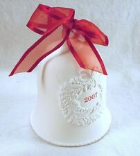HALLMARK CHRISTMAS ORNAMENT 2007 Porcelain Dated Bell w/Red Bow CHRISTMAS