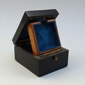 Antique French Ladies Pocket Watch Display Box ~ Inlaid Brass Ebonised Wood Case