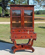 American Empire Flamed Mahogany & Banded Rosewood Secretary Desk JW Meeks c1830