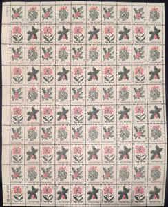 US Stamp - 1964 Christmas - 100 Stamp Sheet - Scott #1254-7