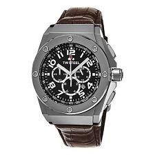 TW Steel Men's CEO Tech Black Dial Leather Strap Chronograph Quartz Watch CE4013