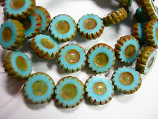 15 12mm Czech Glass Sky Blue Picasso Daisy Flower Coin Beads