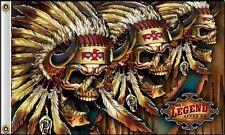 The Legend Lives On Flag 3x5 ft Three Indian Skulls Headdress Motorcycle Biker 3