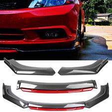 For Honda Civic 9th Gen Si Front Bumper Splitter Red Lip Spoiler Carbon Fiber Hg Fits 2013 Honda Civic Si