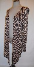 French Laundry Woman Size Large Brown Zebra Print Open Stretch Knit Cardigan