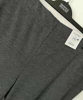 LADIES M&S CLASSIC SIZE 22 BLACK MIX PULL ON STRAIGHT LEG TROUSERS FREE POST