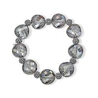 Aya Azrielant Swarovski Crystals Bead Bracelet in Oxidized Sterling Silver