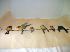Vintage Long Pre-Embroidered Needlepoint Piece, Bluebirds