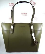 Michael Kors Women Jet Set East West Top Zip Olive Gained Leather Large Tote