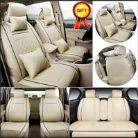 Beige 5-Seats Car Seat Cover Cushion PU Leather Front&Rear W/Neck Lumbar Pillows