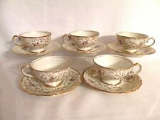 RRW JOHANN HAVILAND BAVARIA FOOTED CUPS & SAUCERS HAND PAINTED FLOWERS GOLD TRIM