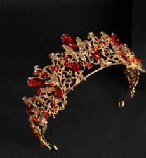 STUNNING BRAND NEW RED & GOLD CROWN/TIARA, WITH RED CRYSTALS,  BRIDAL OR RACING