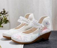 Women's Retro Floral Mary Jane Shoes Casual Strap Embroidered Low Heels Loafers