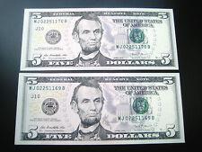 (2) $5 2013 ((( MJ CON#))) FEDERAL RESERVE CHOICE UNC GEM BU NOTE
