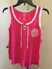 SO PINK WHITE TRIM LACE UP CROP TOP TANK BEACH SQUAD SIZE XS NWT