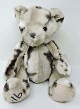 """Dennis Basso Teddy Bear Plush Cream Gray Marbled 15"""" Soft Toy Stuffed Animal"""