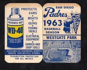 San Diego Padres 1963 Pacific Coast League pocket schedule for Westgate Park