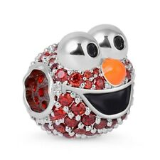"""GNOCE """"Furry Muppet"""" Elmo Monster Sterling Silver Charm Bead with Red CZ Stones"""