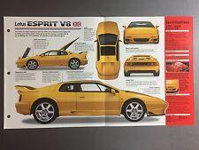 """1996 > Lotus Esprit V8 IMP """"Hot Cars"""" Spec Sheet Folder Brochure #3-19 Awesome"""