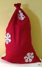 Weihnachtssack Geschenkesack Nikolaussack Filz Rot mit Schneeflocken 90 x 60 cm