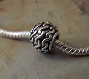 Bead Element Kugel Stripe Farbe Antiksilber Silber 0635
